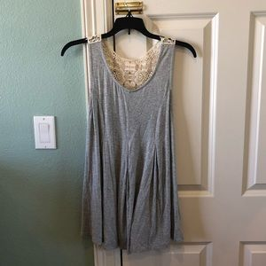Altar'd State Gray Lace Back Flowy Tank Shirt